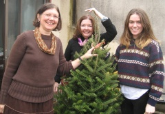 Carol, Patty and Erin with Christmas Tree