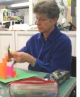 Student in Carol Barton's paper engineering class
